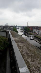 Blick von der Terrasse der OLB im 3. Stock auf den Oldenburger Hafen